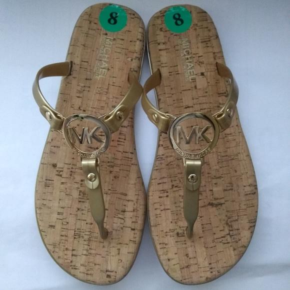 59f87293e Michael Kors Shoes   Mk Charm Jelly Pvc Gold Sandal Size 8   Poshmark